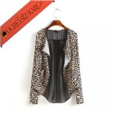 * Şeffaf Transparan Sırt Bluz Ceket Leopar