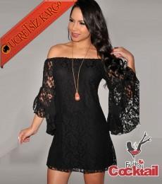 * İspanyol Kol Japon Mini Gece Elbise Siyah