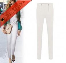 * Çift Fermuar Japon Dar Paça Pantolon Beyaz S-M