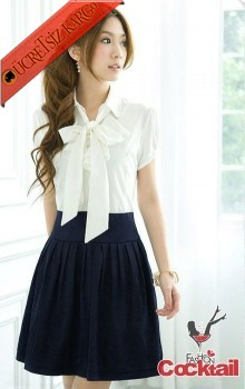 * bağcıklı yaka japon elegant 2renk elbise