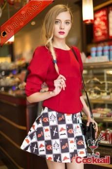 * İskambil Desen Çan Etek Japon Takım S-M Kırmızı