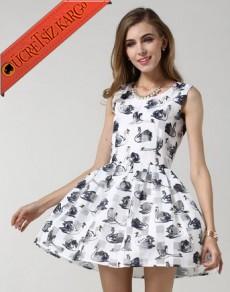 KUĞULU japon kolsuz çan uçuşan elbise