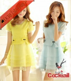* Japon Tül Kabarık Etek Abiye Elbise Sarı