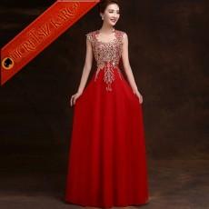 * Altın Dore Nakışlı Uzun Abiye Elbise Kırmızı