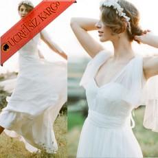 * Japon Tül Askı Uzun Şifon Elbise S-3Xl Beyaz