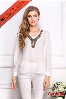 * Antik Mısır Nakış Yaka Japon Bluz S-Xl Beyaz