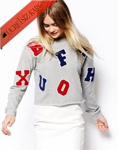 * Alfabe Japon Harfli Casual Sweatshirt S M