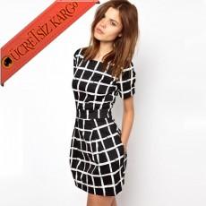 * Büyük Kare Japon Kısa Kol Genç Elbise Siyah S-L