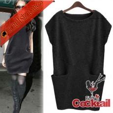 * Bıg Pocket Japon Sımple Elbise Siyah M L