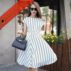 * Boyuna Çizgi Japon Kısa Kol Genç Elbise Beyaz