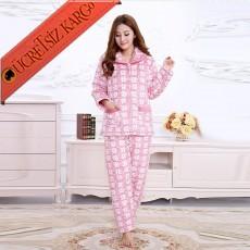 * Kareli Japon Pijama Takım Bedenli Pembe