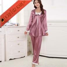 * Uzun Kol Saten Japon 2Li Pijama Takım Bedenli