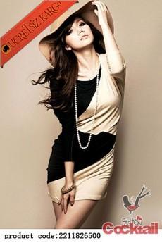 * SECRET GIRL japon 2 renk uzun kol elbise