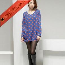 * Balon Etek Japon Big Dot Benekli Bluz Tunik