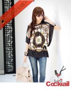 * karışık motifli düşük omuz japon bluz siyah