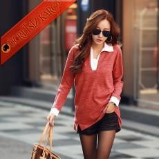* Beyaz Kesik Yaka Japon Elegant Gömlek Kırmızı