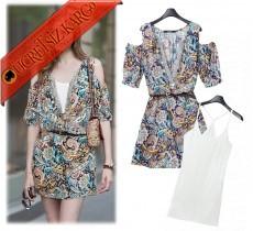* 2Li Japon V-Yaka Çiçekli Genç Elbise Mavi M-Xl