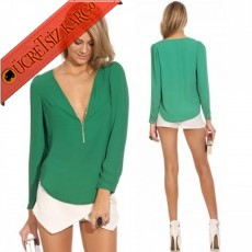 * Narin V-Yaka Japon Elegant Bluz Yeşil M-Xl
