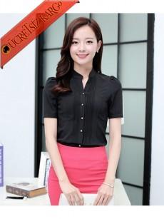 * Kısa Kol Japon Gömlek Etek Takım Siyah S-L