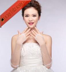 * Parmaksız Yarım Kol Düğün Dantel Eldiven Beyaz