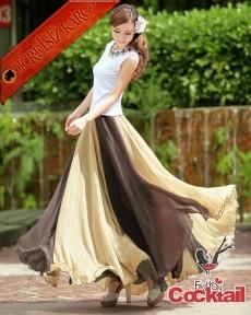 * Renk Yama Japon Straples Uzun Elbise L-Xl Bej