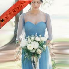 * Japon Tül Askı Uzun Şifon Elbise S-3Xl Mavi