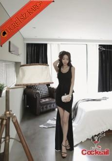 * Asimetrik Japon Volanlı Uzun Elbise S-M Siyah