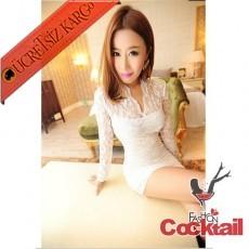 * Rahibe Yaka Japon Dantel Gece Elbise Beyaz M L