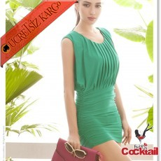 * Enfes Sırt Dekoltesi Japon Party Elbise Yeşil