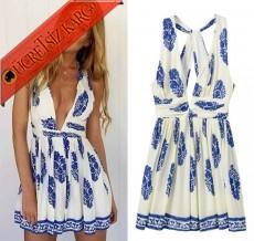 * Derin V-Yaka Japon Kolsuz Elbise S-L