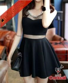 * Tül Bel & Yaka Japon Kolyeli Gece Elbise Siyah
