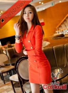* FİT japon düğmeli bayan elbise kırmızı
