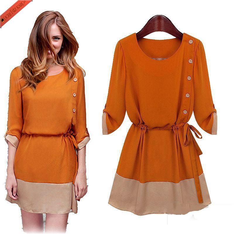 soft casual renk blok japon elbise turuncu