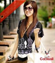 * Siyah & Beyaz Nakış Japon Kısa Kol Tshirt Siyah