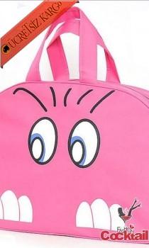 * Angry Face Japon Çanta Pembe