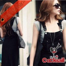 * Bahçıvan Stil Japon Uzun Elbise Siyah S-L