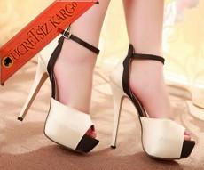 * Vintage Platform Stil Topuklu Ayakkabı Krem