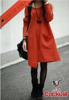 * Asimetrik Etek Japon Causal Elbise Kızıl L-Xl