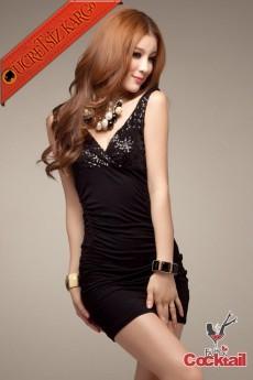 * Askı Japon Pullu Büst Fit Gece Elbise Siyah