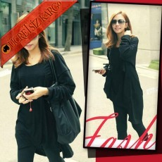 * Dökümlü Salaş Günlük Japon Tunik Siyah