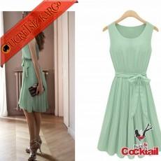 * Japon Pileli Kolsuz Elegant Gece Elbise Yeşil M L