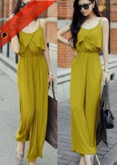 * Dalgalı Büst Japon Elegant Tulum Sarı S-L