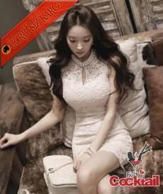 * İnci Yaka Japon Dantel Gece Elbise Beyaz