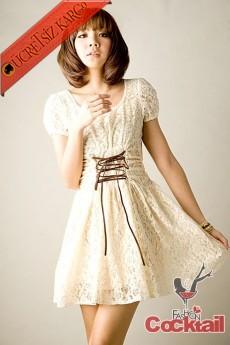 * dantel İPLİ KORSE japon mini elbise bej