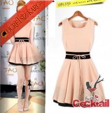 * PINK PRENSES çan kısa japon elbise pembe S M L