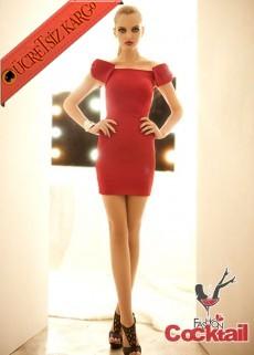 * FİYONK KOL dar japon gece elbise kırmızı