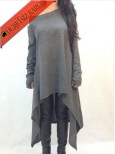 * Asimetrik Japon Düşük Yaka Tunik Bluz Gri