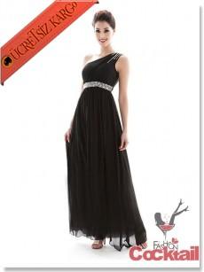 * taşlı tek omuz japon uzun abiye elbise