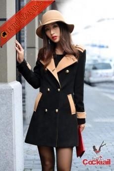 * Pastel Neck Japon Elegant Palto M L Siyah