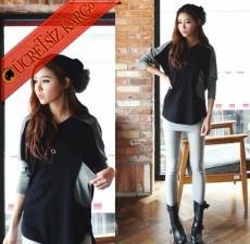 * İki Renkli Yama İşi Salaş Japon Bluz Siyah